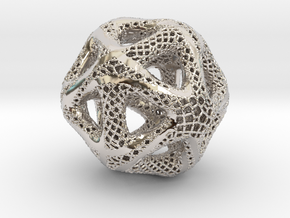 Perforated Twisted Icosahedron Type 2 in Rhodium Plated Brass
