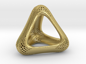 Perforated Tetrahedron  in Natural Brass