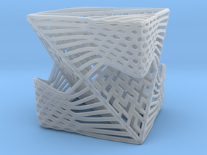 Tetrahedron inside Cube in Smooth Fine Detail Plastic