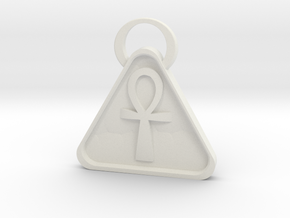 Pyramid Ankh in White Natural Versatile Plastic