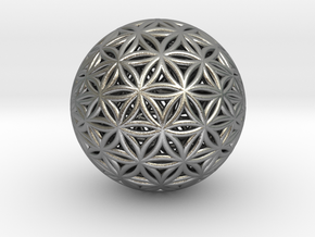 Shrink Wrapped Orb of life in Natural Silver