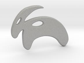 Minimalist Mountain Goat Pendant in Aluminum