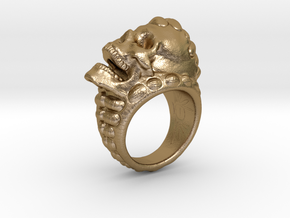 skull-ring-size 9.5 in Polished Gold Steel
