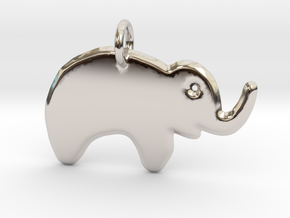Minimalist Elephant Pendant in Rhodium Plated Brass