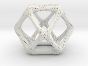 Perforated Cuboctahedron in White Natural Versatile Plastic