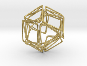 Looped Twisted Cuboctahedron in Natural Brass