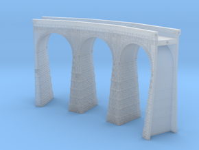 T-scale Stone Viaduct Section - 45d Curve - 145mm  in Smooth Fine Detail Plastic