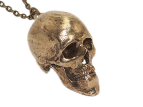 Human Skull With Loop in Natural Brass