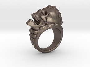 skull-ring-size 11.5 in Polished Bronzed-Silver Steel