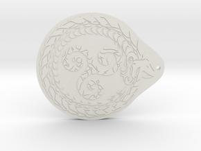 Serpent Triskelion pendant  in White Natural Versatile Plastic