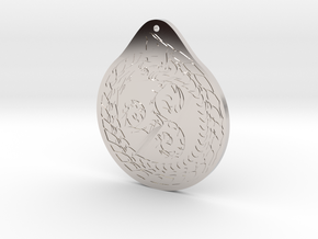 Serpent Triskelion pendant  Fire and water in Rhodium Plated Brass