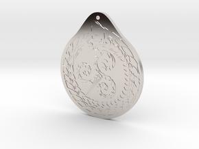 Serpent Triskelion pendant  white red in Rhodium Plated Brass