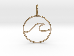 Wave Pendant in Polished Gold Steel