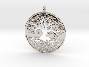 Celtic Knot Tree of life Pendant in Rhodium Plated Brass