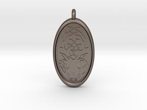Celtic Stag deer Pendant in Polished Bronzed-Silver Steel