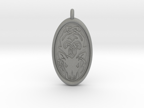 Celtic Stag deer Pendant  in Gray Professional Plastic