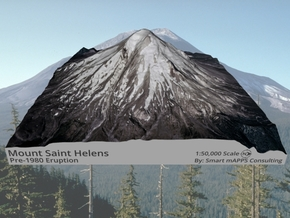 "Mount St. Helens (Pre-1980) Grayscale: 6""x6"" in Natural Full Color Sandstone"