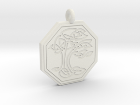 Sacred Tree of Life Octagon Pendant in White Natural Versatile Plastic