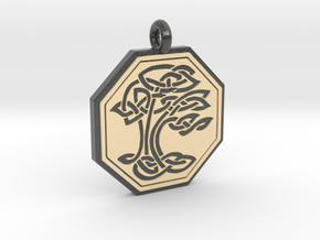 Sacred Tree of Life Octagon Pendant in Glossy Full Color Sandstone