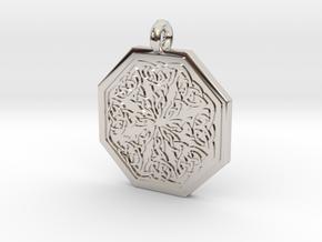 Celtic Spiritual Journey Octagonal Pendant in Rhodium Plated Brass