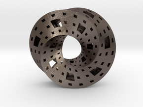 Menger Mobius  in Polished Bronzed-Silver Steel