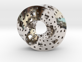 Menger Mobius  in Rhodium Plated Brass