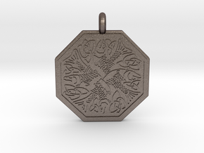 Fish Celtic Octagonal Pendant in Polished Bronzed-Silver Steel
