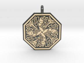 Fish Celtic Octagonal Pendant in Glossy Full Color Sandstone