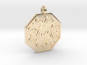 Celtic Spirals Octagonal Pendant  in 14K Yellow Gold