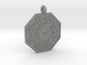 Celtic Spirals Octagonal Pendant  in Gray PA12