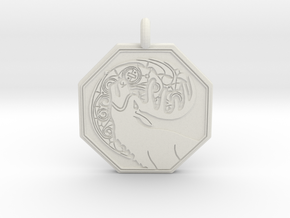 Stag - The Horned God Octagon Pendant in White Natural Versatile Plastic