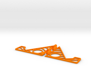 Folding phone stand in Orange Processed Versatile Plastic