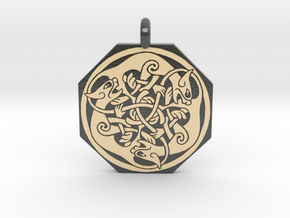 Cat Celtic Octagonal Pendant in Glossy Full Color Sandstone