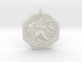 Divine Couple Celtic Octagon Pendant in White Natural Versatile Plastic