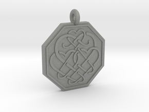 Celtic Heart Octagon Pendant in Gray PA12