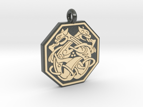Cat Celtic Octogon Pendant in Glossy Full Color Sandstone