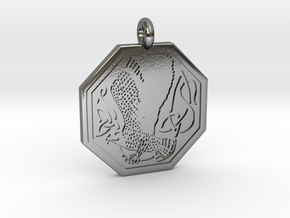 Birds Celtic Octogonal Pendant in Polished Silver