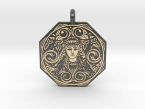 Brigantia Goddess Octagon Pendant in Glossy Full Color Sandstone
