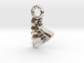 Wing Pendent and Charm 3D print model in Rhodium Plated Brass