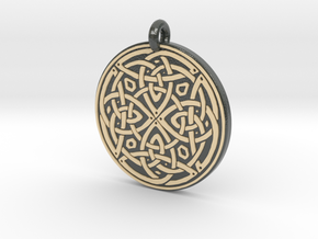Celtic Spiritual Journey round Pendant in Glossy Full Color Sandstone