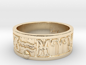 Zodiac Sign Ring Aquarius / 23mm in 14K Yellow Gold