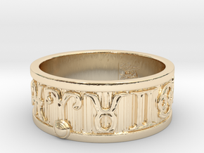 Zodiac Sign Ring Aries / 23mm in 14k Gold Plated Brass