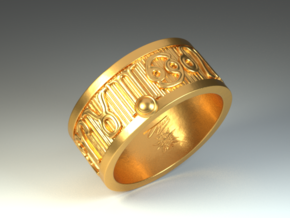 Zodiac Sign Ring Leo / 22mm in Polished Brass