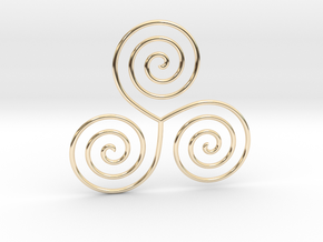 Celtic triple spiral pendant in 14k Gold Plated Brass