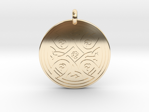 Celtic Cross - Round Pendant in 14k Gold Plated Brass