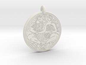 Divine Couple Celtic - Round Pendant in White Natural Versatile Plastic