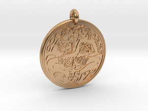 Divine Couple Celtic - Round Pendant in Polished Bronze