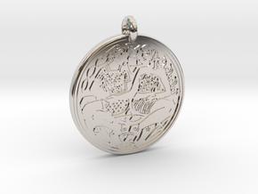 Divine Couple Celtic - Round Pendant in Rhodium Plated Brass