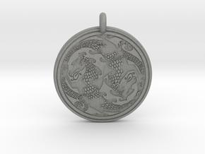 Dragon Celtic - Round Pendant in Gray Professional Plastic