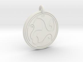 Celtic Spirals - Round Pendant in White Natural Versatile Plastic